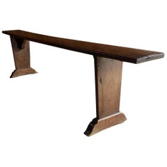 Antique French School Bench Stool Solid Oak Victorian, 19th Century