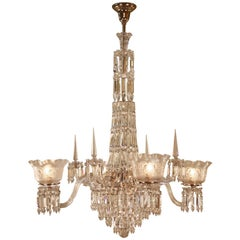 American 19th Century Crystal Gas Chandelier