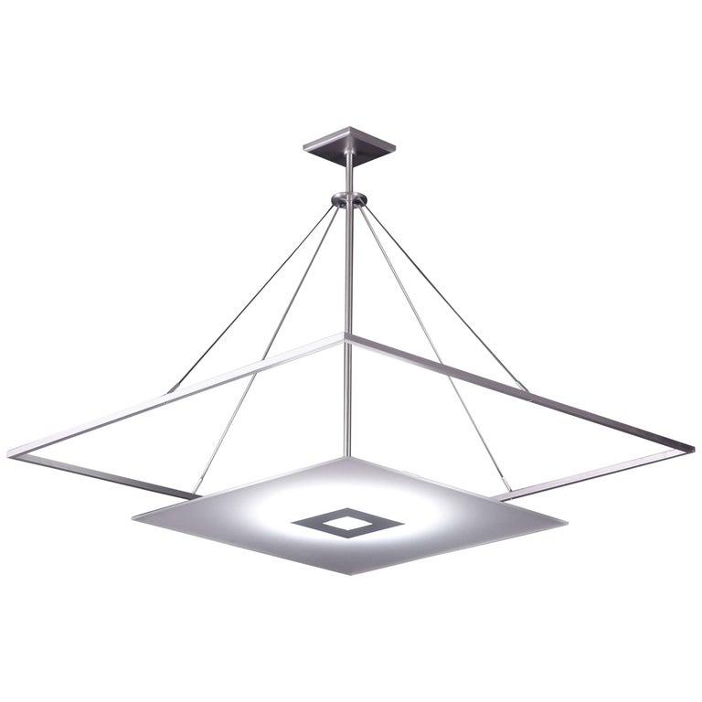 Square White Glass Framed Pendant Light With Midcentury
