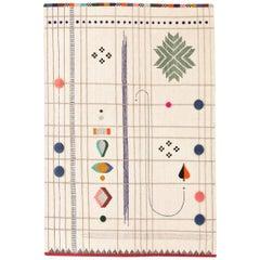 Rabari 1 Large Hand-Knotted and Loomed Wool Rug by Nipa Doshi & Jonathan Levien