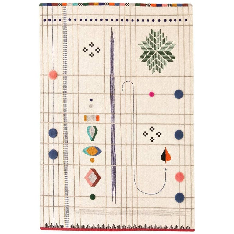 Rabari 1 Large Hand-Knotted and Loomed Wool Rug by Nipa Doshi & Jonathan Levien For Sale