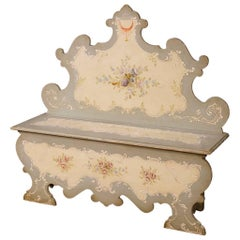 Lacquered and Painted Venetian Bench in Wood, 20th Century