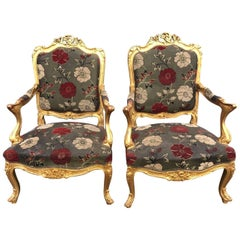 Stunning French Gilt Rococo Style Chairs
