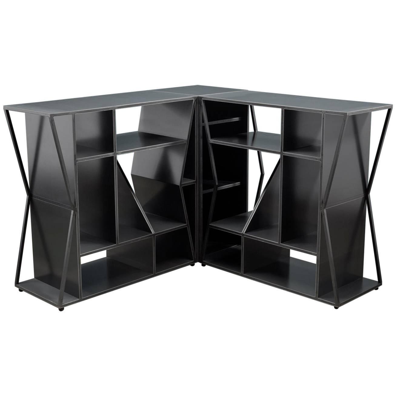 Modern Steel Corner Cabinet Trio, Meridian Modular Credenza, Force/Collide,  2017