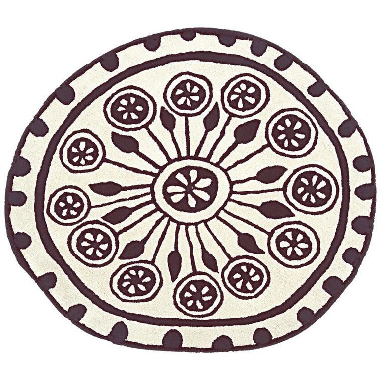 Rangoli Small Round Hand-Tufted Wool Rug by Nani Marquina For Sale