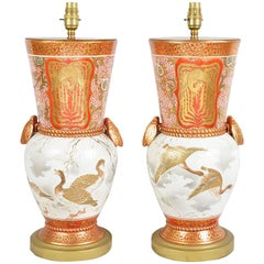 Pair of Japanese Kutani 19th Century Vases or Lamps