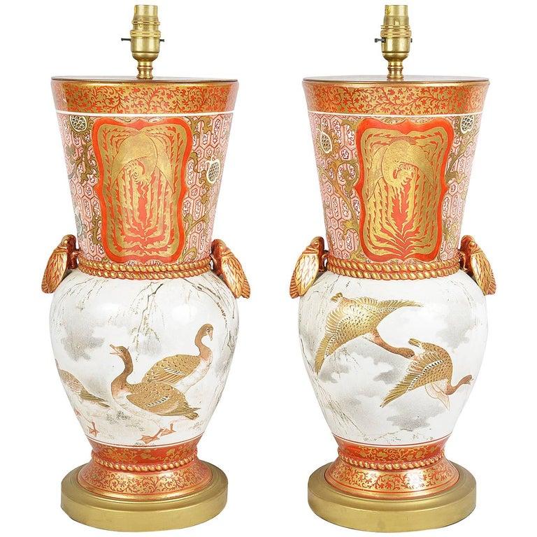 Pair of Japanese Kutani 19th Century Vases or Lamps