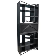 Vertical Steel Etagere Bookcase Trio, Meridian Modular Credenza by Force/Collide