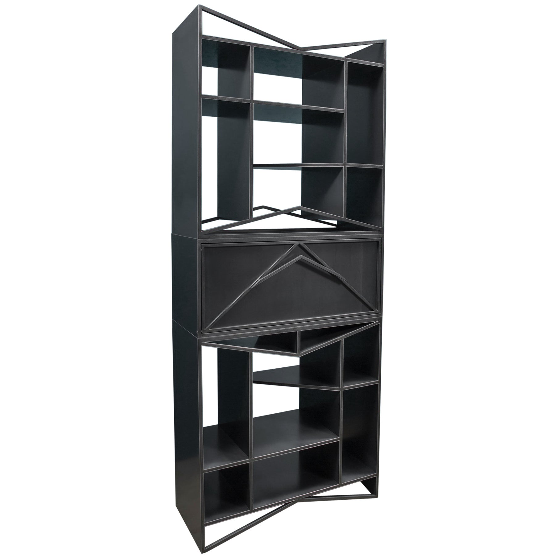 Vertical Steel Etagere Bookcase Trio Meridian Modular Credenza By Force Collide