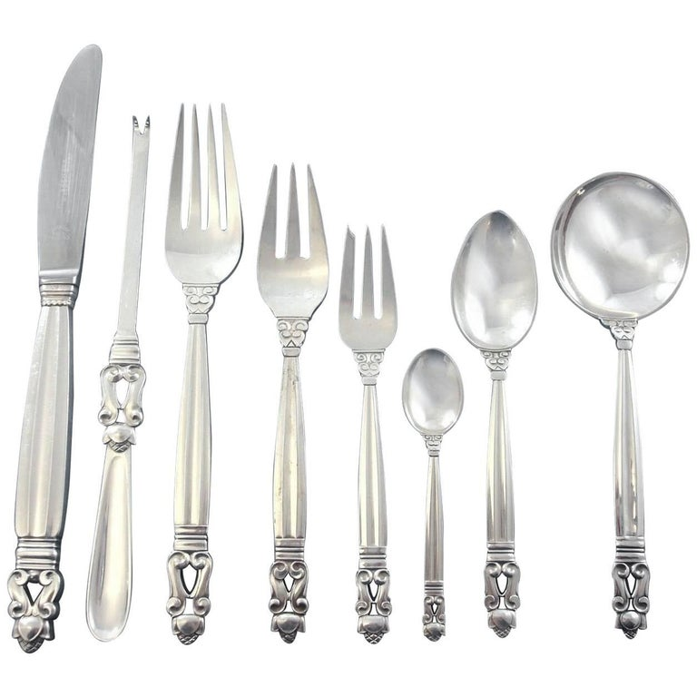 Acorn by Georg Jensen Sterling Silver Dinner Flatware Set Service 101 Pieces