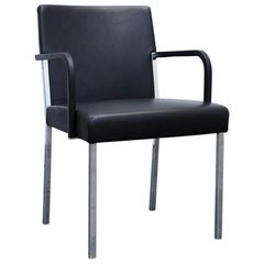 Moroso Designer Leather Armchair in Black, One-Seat Modern