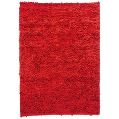 Roses Red Hand-Loomed Wool Dyed Felt Rug by Nani Marquina, in Stock
