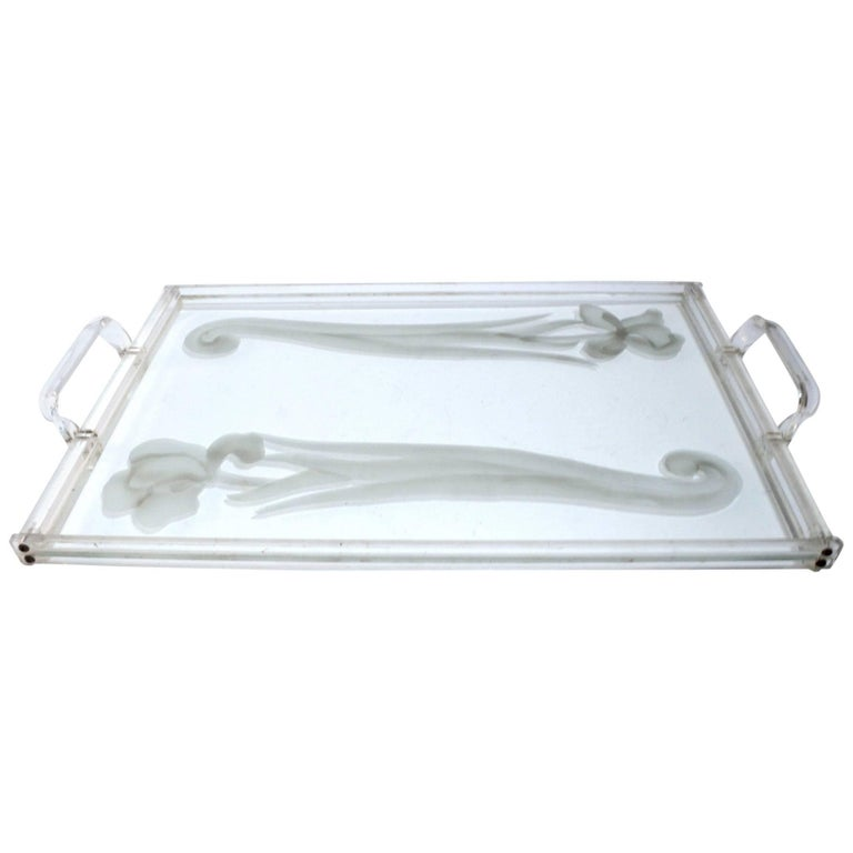 Etched Glass and Lucite Tray after Dorothy Thorpe