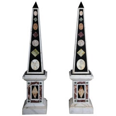 Pair of Monumental Marble Obelisks, White