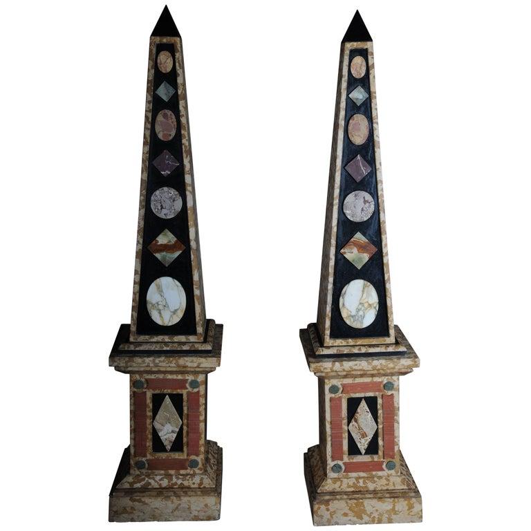 Pair of Monumental Marble Obelisks, White #2