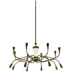 Large 1950s Sixteen-Light Chandelier in the Style of Paolo Buffa
