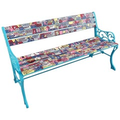 Artistic Three-Seat Garden Wooden Slat Varnished Cast Iron Bench with Backrest