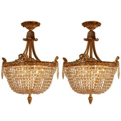 Pair of Crystal Basket and Bronze Chandeliers