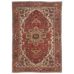 Antique Persian Handmade Wool Oriental Serapi Carpet, Rust, Gold, Light Blue
