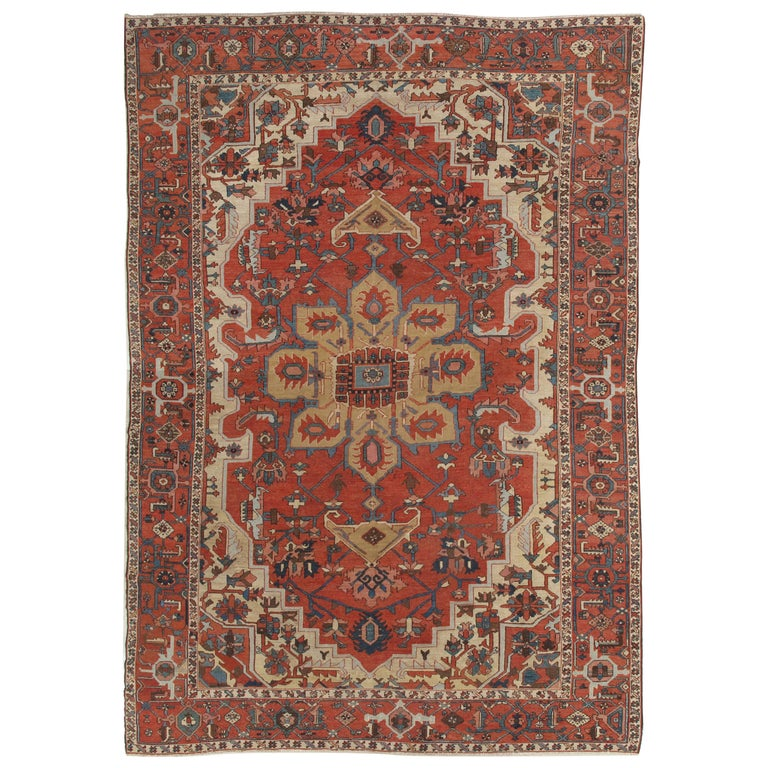 Antique Persian Handmade Wool Oriental Serapi Carpet, Rust, Gold, Light Blue