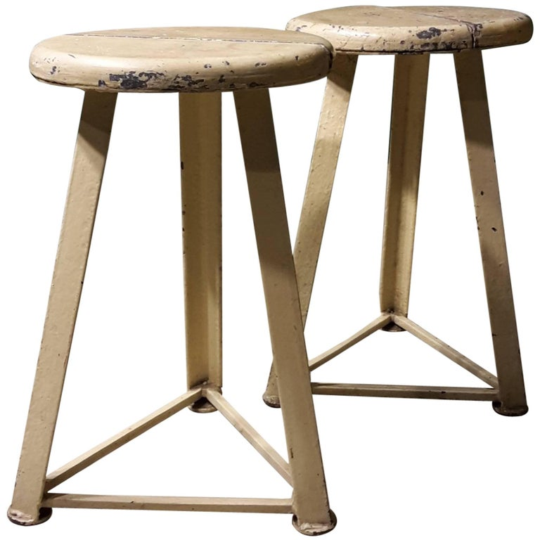 20th Century Pair of French White Industrial Stools Made of Metal and Wood