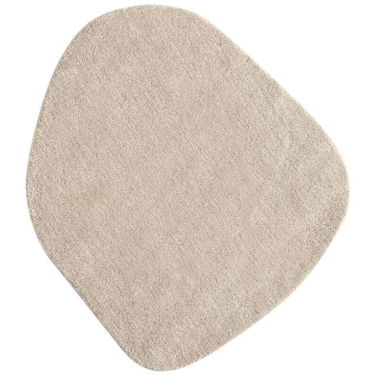 Little Stone 7 Ivory Hand-Tufted Wool Rug by Diego Fortunato in Stock For Sale
