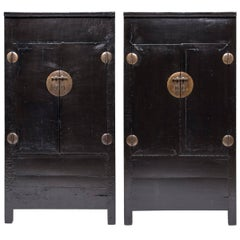 Pair of Chinese Black Lacquer Cabinets