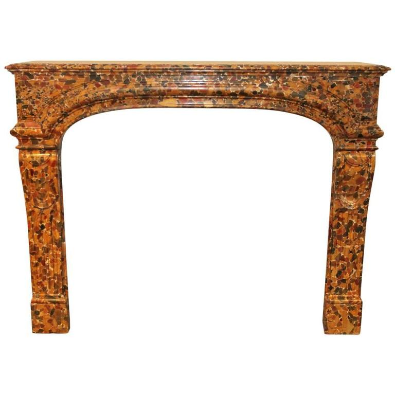 19th Century French Louis XIV Breche d'Alep Marble Mantel
