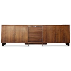 Paul Dupré-Lafon Walnut, Iron and Nickel Tambour Front Cabinet