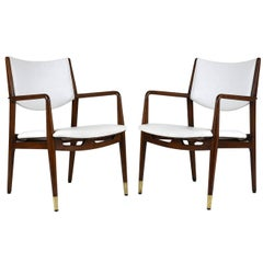 Pair of Walnut and Naugahyde Armchairs by George Reinoehl for Stow & Davis