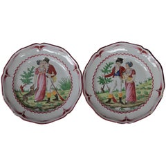 Pair of Dishes with Two Lovers, East of France, circa 1830