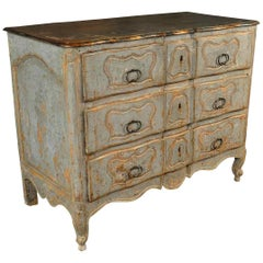 "French 18th Century ""Arbalette"" Commode in Painted Wood"