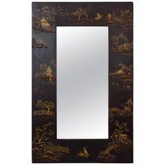 Small Continental Chinoiserie Paint Decorated Wall Mirror, Early 20th Century