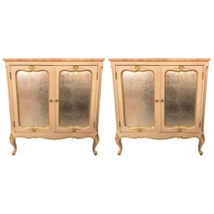 Pair of Louis XV Style Marble-Top Commodes or Nightstands with Mirrored Doors