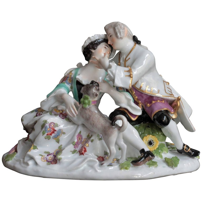 Meissen Porcelain Gallant Group with a Pug Dog, circa 1746 For Sale
