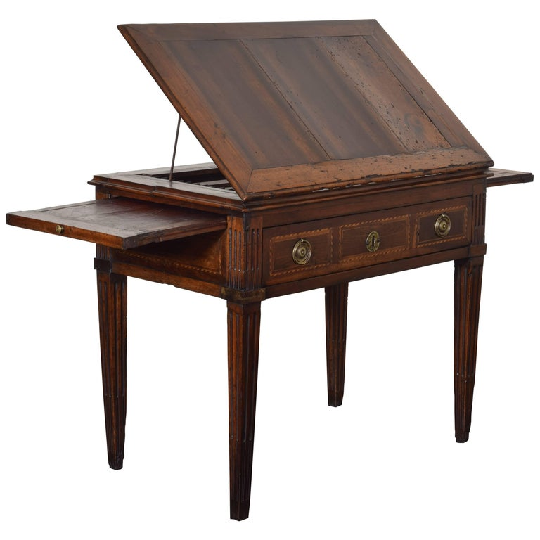 French Louis XVI Period Walnut Metamorphic Drafting Table, 18th Century