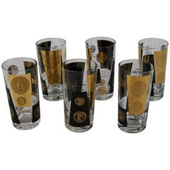 Black and 22-Karat Gold Coin Design Highball Glasses by Cera Mid-Century Modern