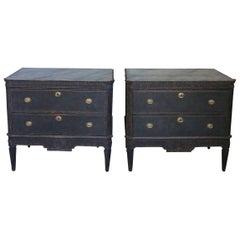 Pair of Black Painted Gustavian Style Commodes