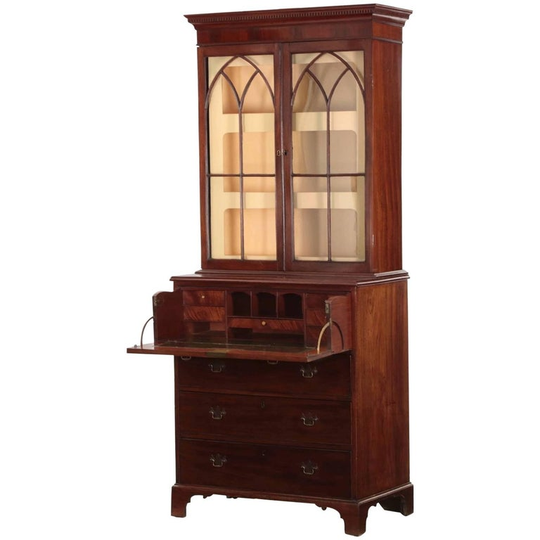 18th Century English George III Period Secretary Desk with Bookcase