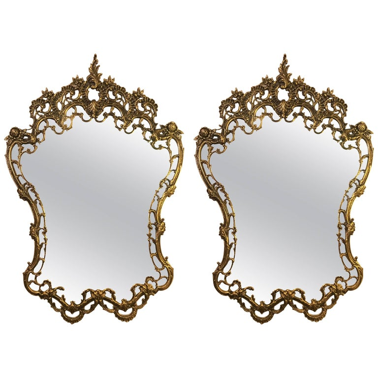 Pair of Ornate Rococo Style Solid Brass Console or Pier Mirrors