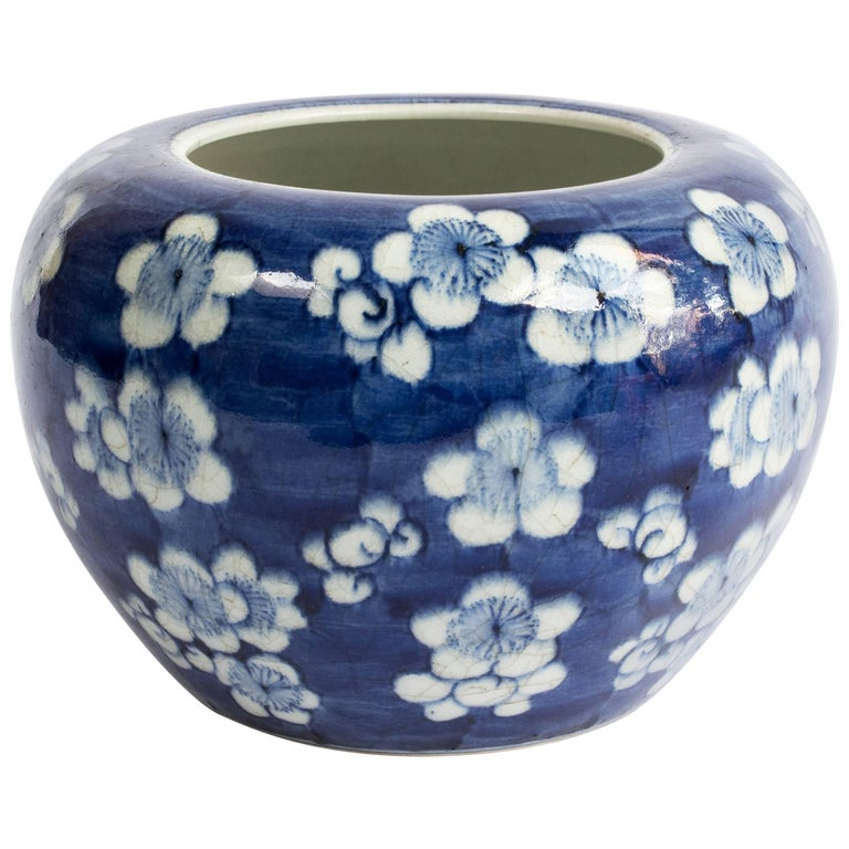Chinese Blue and White Prunus Blossom Porcelain Brush Washer