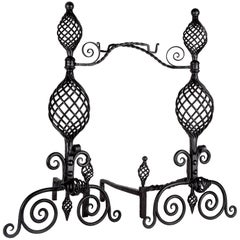 Wrought Iron Andirons, circa 1900