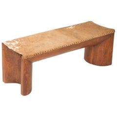 Rare Bench in Pequi Wood and Natural cowhide by Zanine Caldas, circa 1962