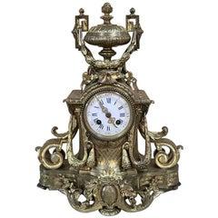 19th Century French Louis XVI Gilded Bronze Mantel Clock