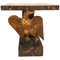 Large Gilded Eagle Marble-Top Console or Pedestal