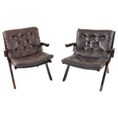 Pair of Chocolate Brown Leather Danish Midcentury Easy Chairs