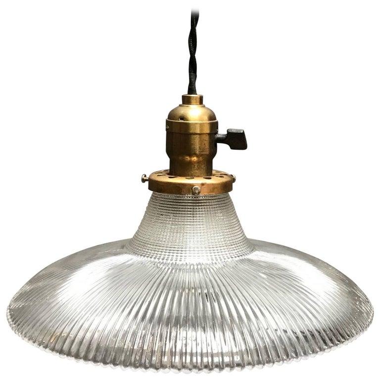 Industrial Fluted Prismatic Holophane Glass Pendant Light