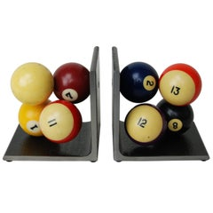 Vintage Billiard Ball Bookends, Industrial, Handcrafted, Artisan