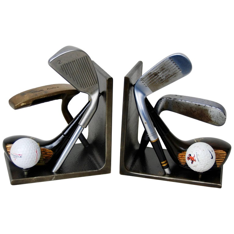 Vintage Golf Club Head Bookends, Industrial, Handcrafted, Artisan