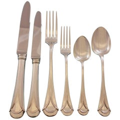 Lui Bellotto Italian Sterling Silver Flatware Set 79 Pcs Dinner Service for 12
